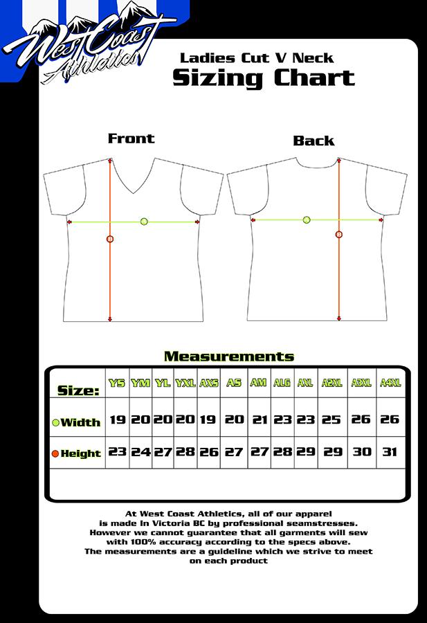 Lasdies cut v neck size chart